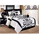 Chezmoi Collection 7 Piece White With Black Floral Flocking Comforter Set Bed In A Bag For King Size Bedding 106 By 92 Inch