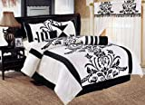 "Chezmoi Collection 7 Pieces White with Black Floral Flocking Comforter (104""x92"" in Inch) Set Bed-in-a-bag for King Size Bedding"