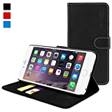 Snugg iPhone 6 Plus Leather Flip Case in Black - Flip Wallet case with Card Slots, Stand and Premium Nubuck Fibre Interior for the Apple iPhone 6 Plus