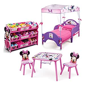 Minnie Mouse Kids Bedroom Furniture Sets 3 Piece Cozy Toddler Bed And Plastic