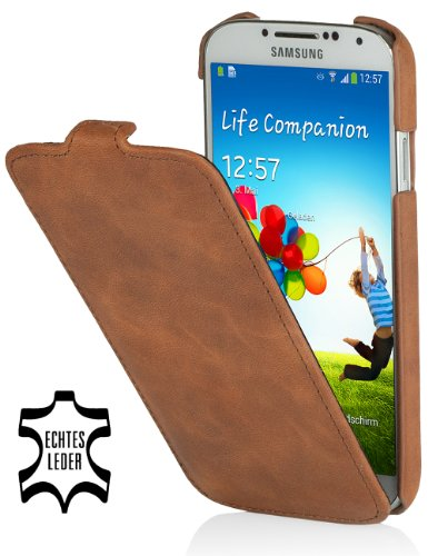 StilGut UltraSlim Genuine Leather Case for Samsung Galaxy S4 i9500 & i9505, Cognac vintage