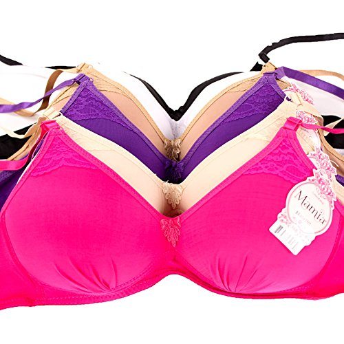 MaMia Women's 6 Wireless Bras Solid Colors Wire Free-32B