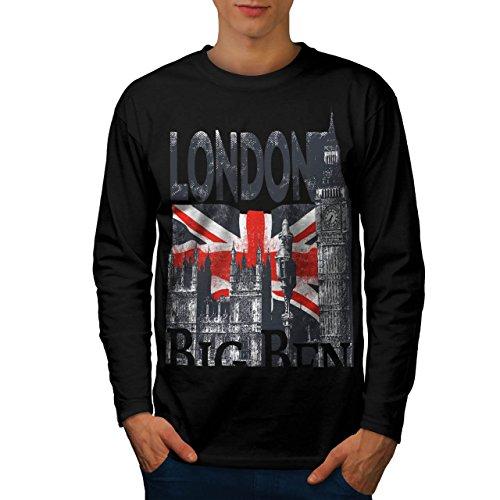 Londra UK GB Gran Bretagna Grande Uomo Nuovo Nero L T-Shirt Manica Lunga | Wellcoda