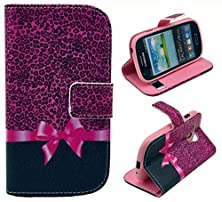 buy S3 Mini Case (Not For Regular S3 Case),Galaxy S3 Mini Case, Welity Cute Small Leopard Grain Bow Pu Leather Stand Card Wallet Case Cover For Samsung Galaxy S3 Mini I8190 And One Gift