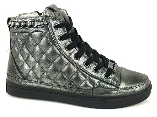 HYPNOSI Patty Low sneakers alta zip PELLE PEWTER GRIGIO 40