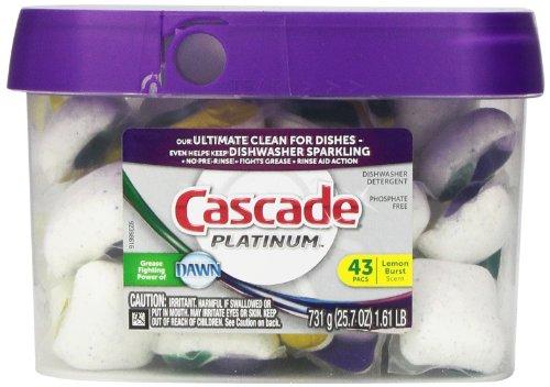 Cascade Platinum Actionpacs Lemon Burst Scent Dishwasher Detergent 43 Count front-479117