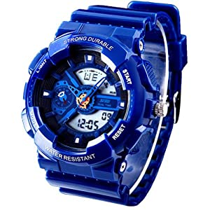 New Unisex Fashion Sport Watch Analog/Digital Water Resist Dual Time Multifunction Alarm Led Womens Mens Wristwatch 6 Colours Option (Blue)