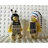 LEGO Indianer: Häuptling & Squaw mit Federschmuck und Kriegsbemalung