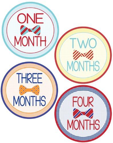 Baby Boy Bow Tie Monthly Onesie Stickers - Baby Photo Prop - Newborn Sticker - Bodysuit Stickers - Mustache Stickers
