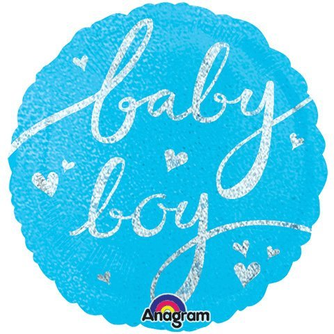32 Inch Baby Boy Script Holographic Balloon