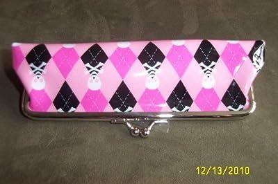 GLAM Vintage Pink & Black Argyle w/Skulls Design Makeup Case by GLAM