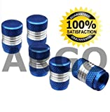 BLUE CHROME VALVE DUST TYRE WHEEL CAPS HONDA JAZZ