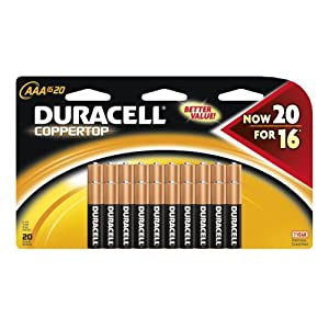 51guB1mjK4L. SL500 AA300  Duracell Coppertop AAA Battery 20 Pack   $8 + $5 Shipping