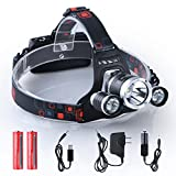 i-Mate 6000 Lumen Bright Headlight Headlamp Flashlight 3 X CREE T6 LED with Rechargeable Batteries and Wall Charger for Hiking Camping Riding Fishing Hunting