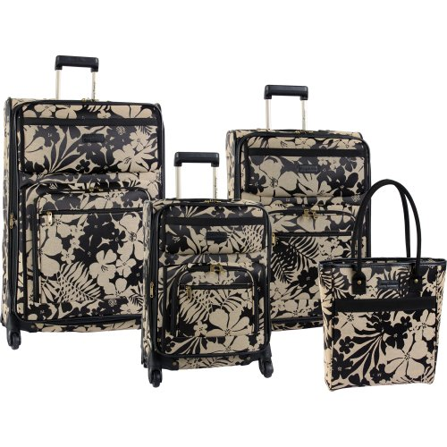 Tommy Bahama Luggage Gem 4 Piece Set, Black/Tan, One Size B00937WVMG