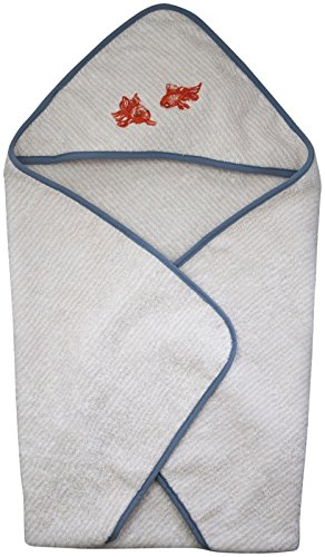 Home & Loft Hooded Towel - White Goldfish