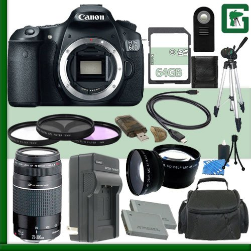 Canon Eos 60D Digital Slr Camera And Canon 75-300Mm Iii Usm Lens + 64Gb Green'S Camera Package 1