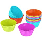 OliaDesign Silicone Cupcake, Muffin and Cake Baking Cup Liners Molds Sets (24 Pack), Multicolored