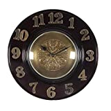 Home And Bazaar Wooden Wall Clock With Brass Finish Dial And Brass Emboddes Numbers