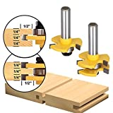 SILIVN Tongue and Groove Set, Router Bit Set, Wood Door Flooring 3 Teeth Adjustable , 1/2 Inch Shank T Shape Wood Milling Cutter Woodworking Tool, 2 Piece