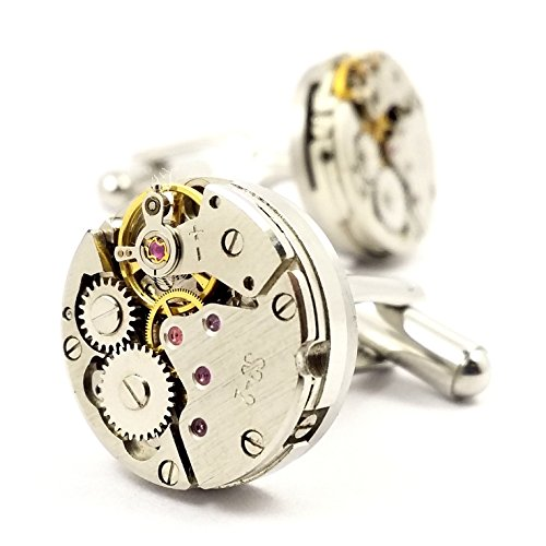 MFYS silver clock movement only round cufflinks jewelry BOX with