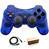 PS3 Controllers for Playstation 3 Dualshock Six-axis, Wireless Bluetooth Remote Gaming Gamepad Joystick Includes USB Cable (ClearBlue,Pack of 1) (Color: Clear Blue)