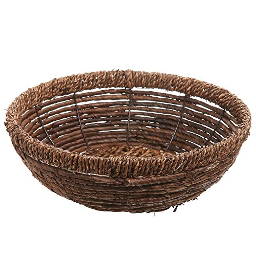 Hand woven brown seagrass shallow round decorative fruit for Seagrass for landscaping