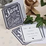 Ginger Ray Vintage Chalk Effect Save The Date Cards with Envelope For A Wedding or Party (10 Pack), Grey