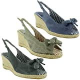 New Ladies Platform Slingback Wedge Bow Peep Toe Summer Sandals Size 3 4 5 6 7 8