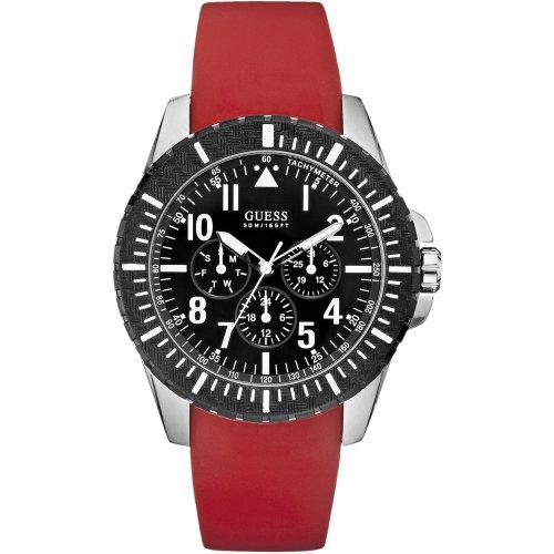 Guess - W90077G1 - Montre Mixte - Quartz Chronographe - Chronomètre - Bracelet Caoutchouc Rouge