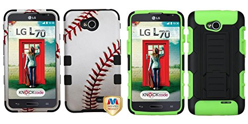 Combo Pack Mybat Baseball-Sports Collection/Black Tuff Hybrid Phone Protector Cover For Lg Ms323 (Optimus L70) Lg Vs450Pp (Optimus Exceed 2) And Asmyna Black/Electric Green Car Armor Stand Protector Cover (Rubberized) For Lg Ms323 (Optimus L70) Lg Vs450Pp