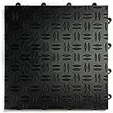 GarageTrac Garage Flooring Tiles-24 Pack, Multiple Colors (Black)
