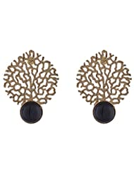 The Jewelbox Gold Plated Filigree With Black Stone Earring