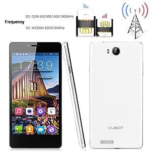"""Cubot S208 Smartphone Mince 5.0"""" écran tactile Google Android 4.2 MTK6582 Débloqué Quad Core Dual SIM 3G Wi-Fi Bluetooth GPS - Blanc - resolution 960 x 540 - caméra arrière (8.0 mégapixels), caméra frontale (5.0 Mégapixel)"""