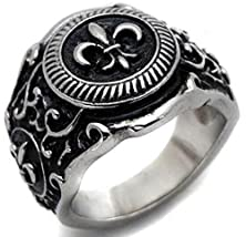 buy Beydodo Stainless Steel Men'S Promise Ring Vintage Pattern Two Tone Engraved Size 13 Gold