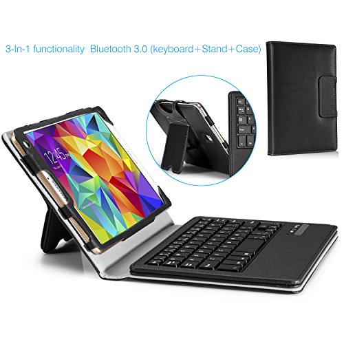 Moko Samsung Galaxy Tab S 8.4 Keyboard Case - Wireless Bluetooth Keyboard Cover Case For Samsung Galaxy Tab S 8.4 Inch Android Tablet, Black (Will Not Fit Tab Pro 8.4) (With Smart Cover Auto Wake / Sleep)
