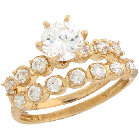 14ct Yellow Gold White CZ Fancy Wedding Engagement Duo Rings