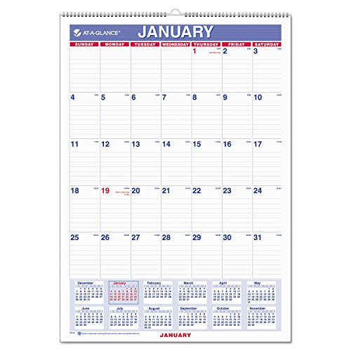 """AT-A-GLANCE Wall Calendar 2017, Monthly, 12 x 17"""", Ruled, Wirebound (PM2-28) Pack of 2"""