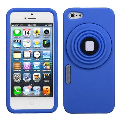 Cell Accessories For Less (Tm) Apple Iphone 5S/5 Dark Blue Camera Style Stand Pastel Skin Case Cover + Bundle (Stylus & Micro Cleaning Cloth) - By Thetargetbuys