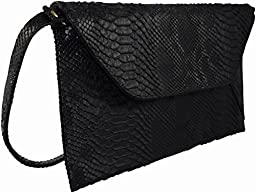 Patzino Fashion Collection, Faux Leather Croco Chic Women\'s Envelope Clutch (Black II)