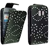 FOR NOKIA ASHA 302 STYLISH BLACK CRYSTAL DIAMOND BLING LEATHER FLIP CASE COVER POUCH