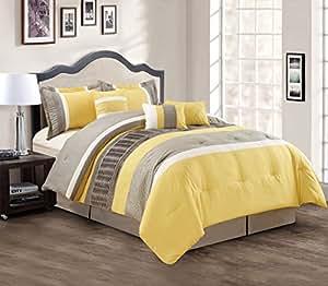Amazon.com - Modern 7 Piece Bedding Yellow / Grey / White ...