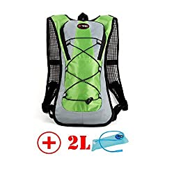 HMLifestyle Hydration packs for hiking hydration backpack Bladder Bag with 2L bladder Water Bag Lightweight Durable Green + 2L bladder