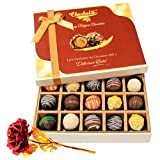 Valentine Chocholik's Belgium Chocolates - Lovely Truffles Collection With 24k Red Gold Rose