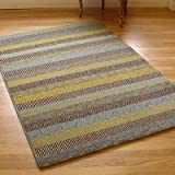 Woodstock 32743-5342 Teal Blue, Brown, Beige & Gold Stripes Rug