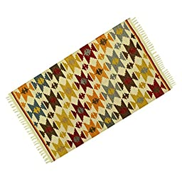 Jute Cotton Hand Woven Floor Runner Indian Navajo Pattern Mat Rug Rag Carpet 59\