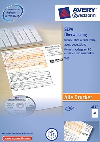 Im Bild: Avery Zweckform 2817 Sepa-Überweisung, DIN A4, 100 Blatt, inkl. Software-CD, weiß