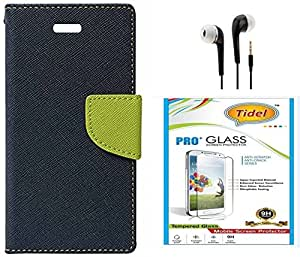 Tidel Premium Table Talk Fancy Diary Wallet Flip Cover Case for Lenovo Vibe K5 With Tidel 2.5D Curved Tempered Glass & 3.5mm Earphone