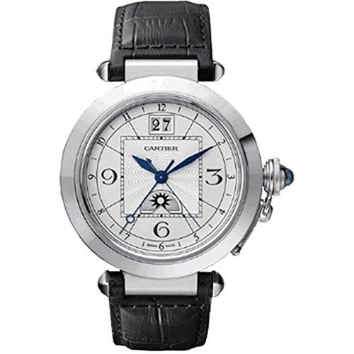 Cartier Men's Pasha De Cartier 32mm Black Leather Band Steel Case Automatic Analog Watch W3109255