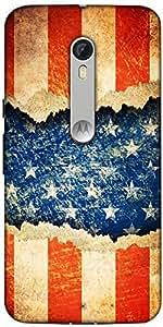 Snoogg Grunge America Designer Protective Back Case Cover For Motorola Moto X Style
